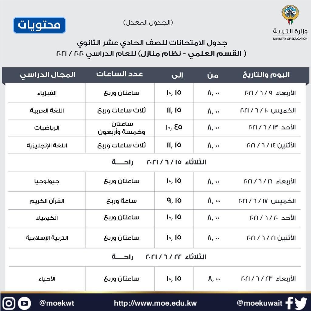 جدول امتحانات السنة الحادية عشر الثانوية القسم العلمي